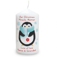 Felt Stitch Penguin Candle